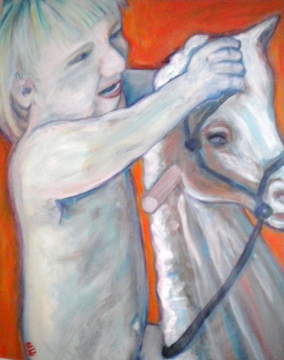 Boy on Rocking Horse - VickiJane Paintings