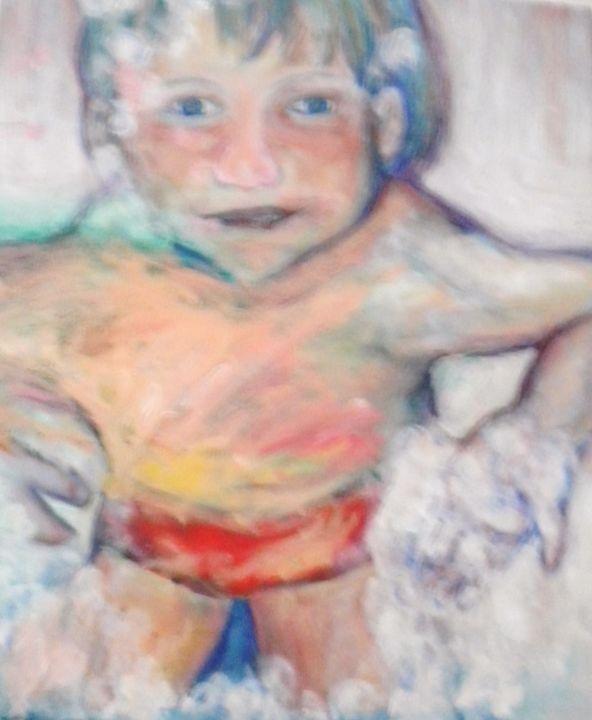 Boy in Bubble Bath - VickiJane Paintings