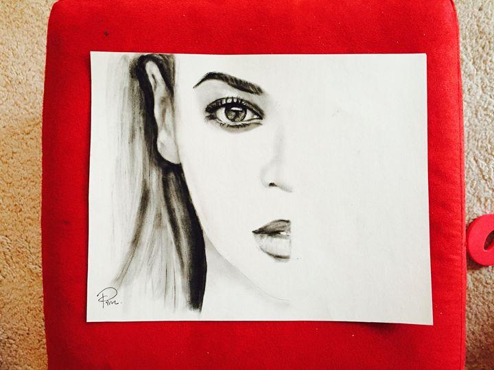 Charcoal drawing of Beyonce - MyArtsWorld