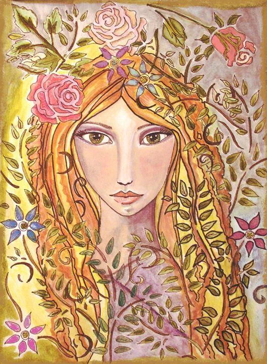 Art Nouveau Woman with flowers - StudioWildFae