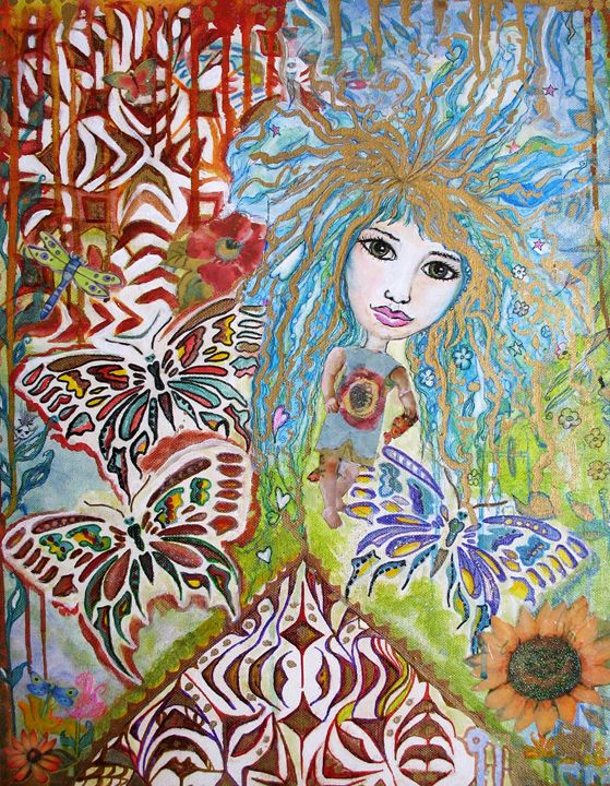 Butterfly Blu girl Abstract - StudioWildFae
