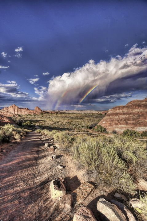 Rainbow at Arches - Life is a Highway Photo