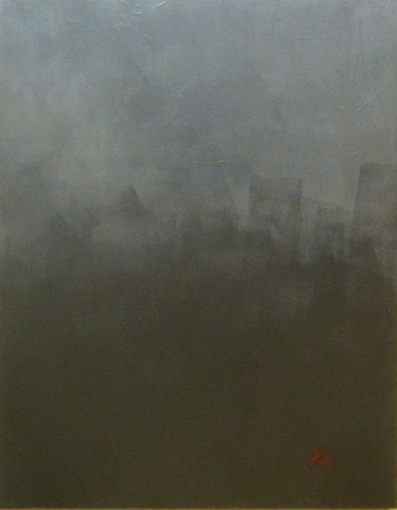Black #1 with Grey - Paintings by Joseph Piccillo