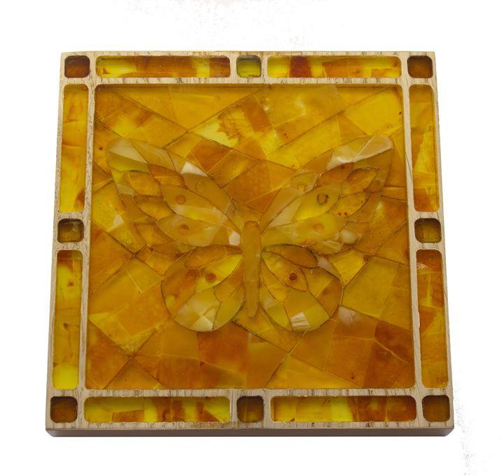 Natural amber mosaic, hand made - FJ Amber