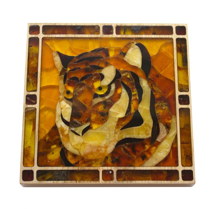 Natural amber mosaic, hand made - FJ Amber