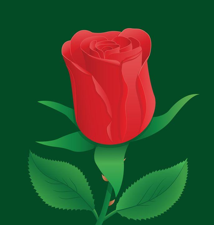 Illustration of Red Rose - Waqas Arts