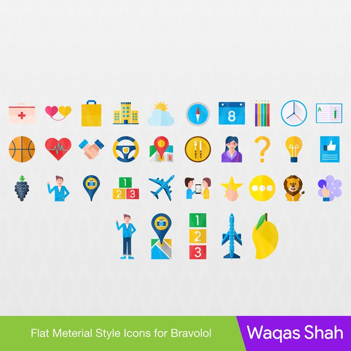 Material Style Icons for Bravolol - Waqas Arts - Digital Art