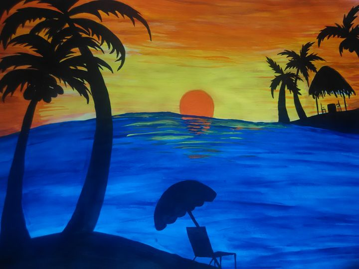 beach painting - mansha's imagination