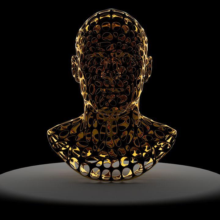 Gold head with large mesh - Woolstanwood Digital Art
