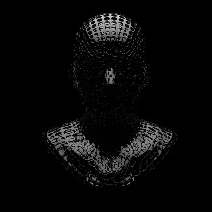 Black head with mesh 2 - Woolstanwood Digital Art