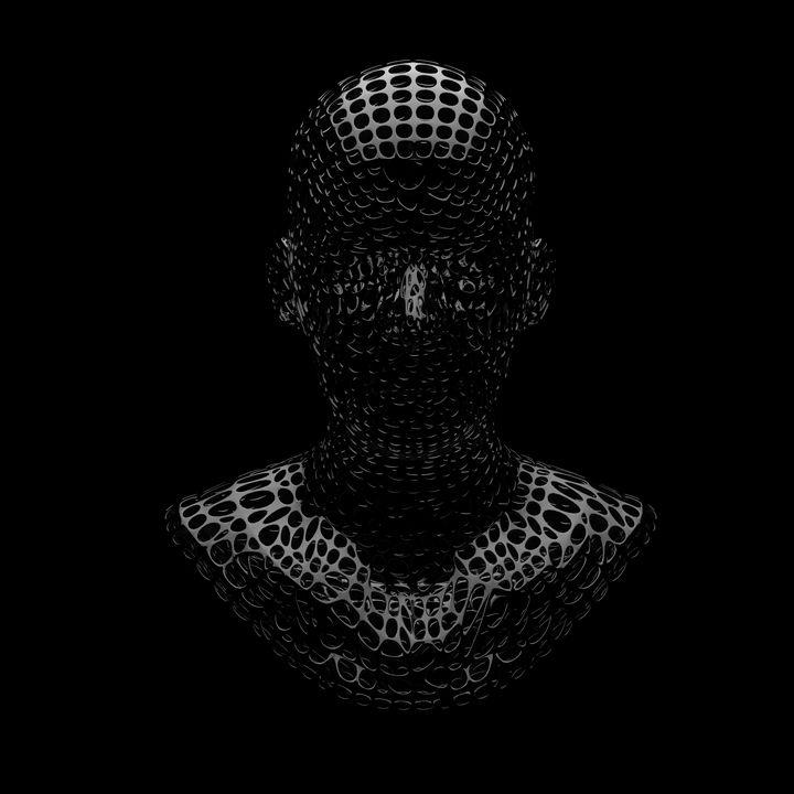 Black head with circle mesh - Woolstanwood Digital Art