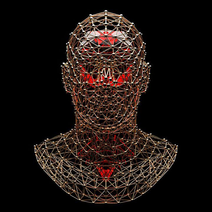 Gold Mesh Red Crystals - Woolstanwood Digital Art