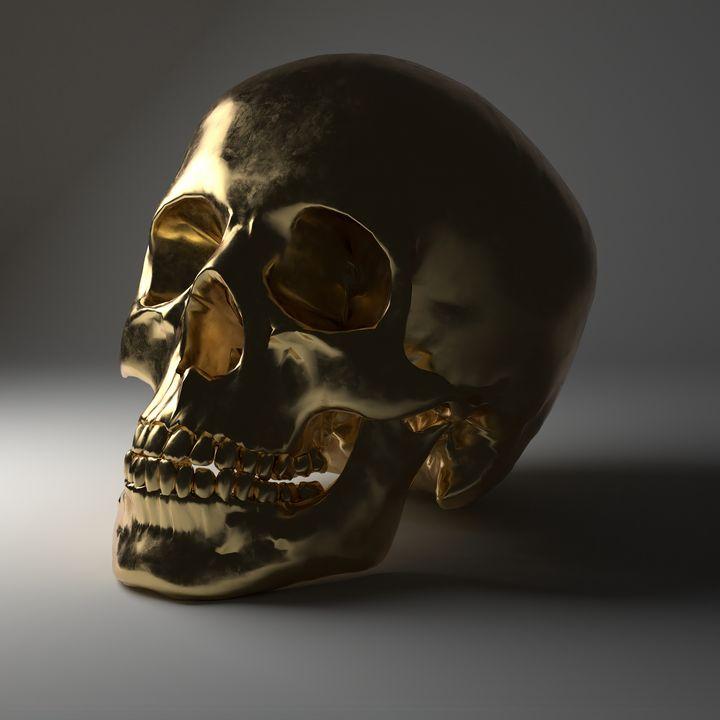 Gold Skull - Woolstanwood Digital Art