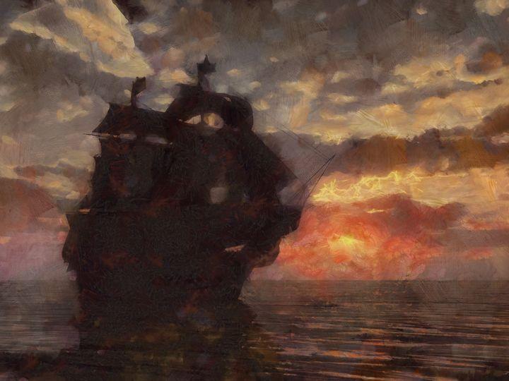 HMS Victory At Sunset - Woolstanwood Digital Art