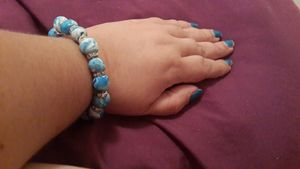 blue swirl clay bracelet