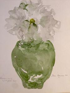 Peonies in a Light Green Pot