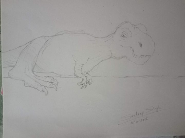 Catoonish caricature of sleepy T-Rex - Sandeep's gallery