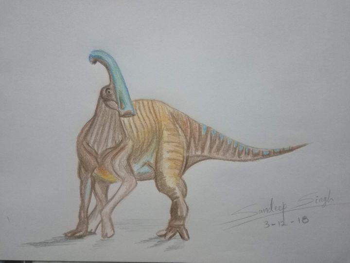 Parasaurolophus - colored pencil - Sandeep's gallery