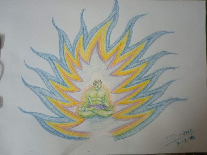 #HULK Meditate # Fun Art pencilcolor - Sandeep's gallery
