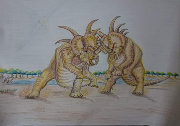 Styracusaurus Fight - Pencil Colors - Sandeep's gallery