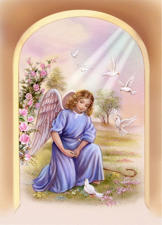 630fc22ed4 Cute Angel with white doves - ArtHouseDesign - Drawings ...