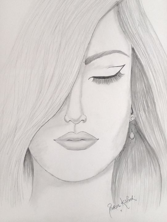Girl S Face Sketch Art Gallery By Parul Kapoor Drawings Illustration People Figures Female Form Other Female Form Artpal