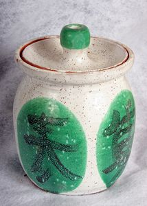 Lidded Jar with Characters - Alexis Dillon Art