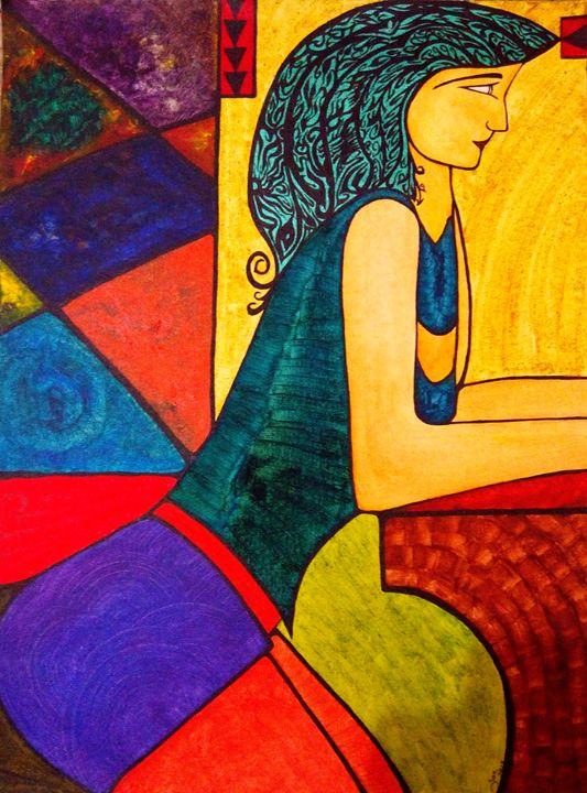 lady on the bar - SanblackArts