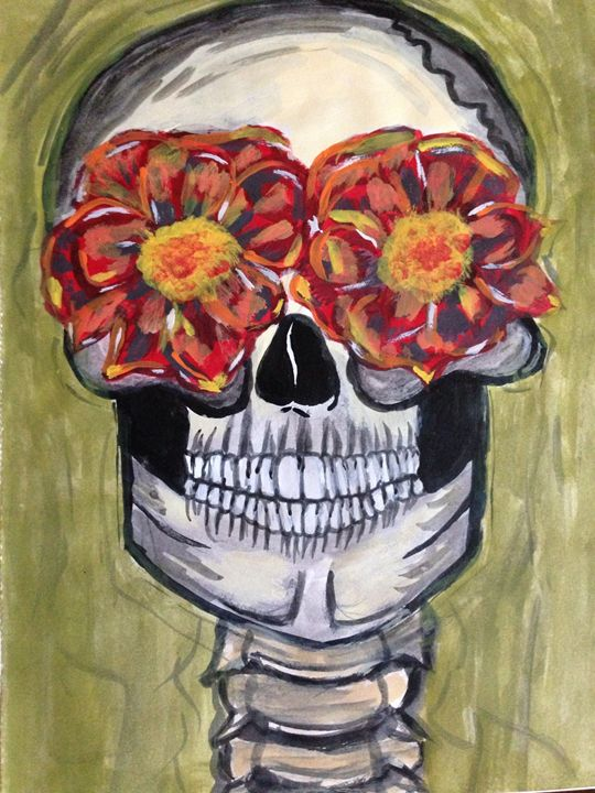 Flower skull - Cree Art and Designs