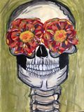 Skull; acrylic on paper