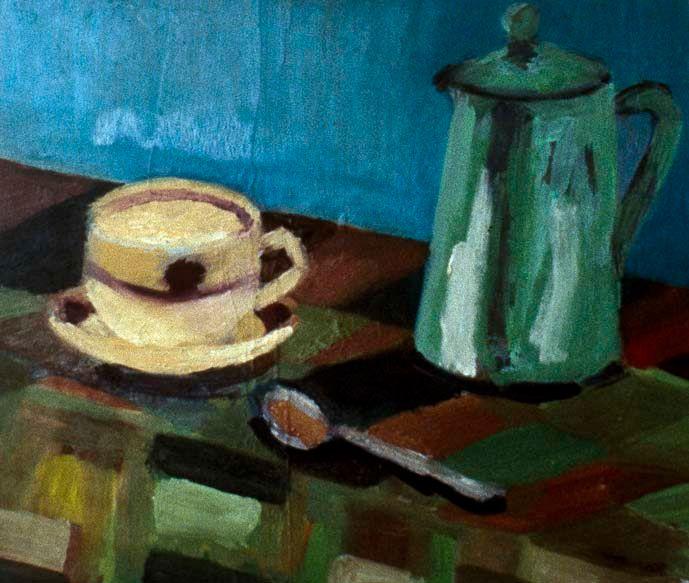 Still life with green jug - Keren Souzakohn