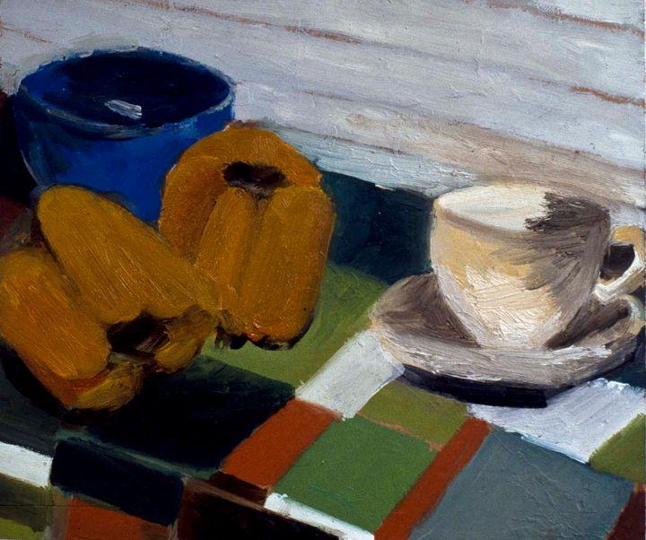 Still life with yellow peppers 1987 - Keren Souzakohn