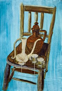 Still life on chair in sky