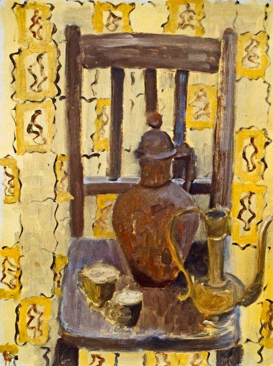 Chair Still Life with Yellow Curtain - Keren Souzakohn