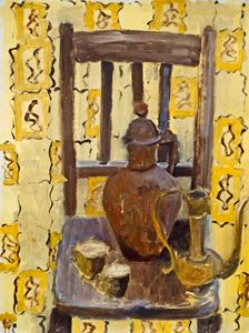 Chair Still Life with Yellow Curtain
