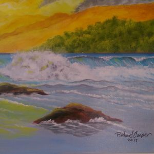 Waves Dancing at Sunset