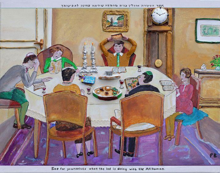 The family at Passover Seder - BusyArt