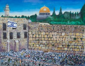 Crowded prayers at the Western Wall
