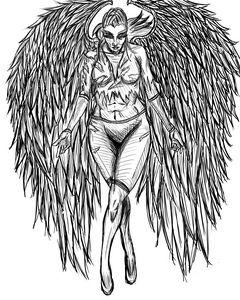Warrior Angel Lineart