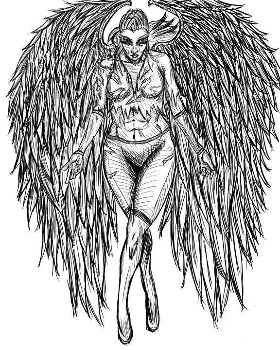 Warrior Angel Lineart - Dark Wolf Creative