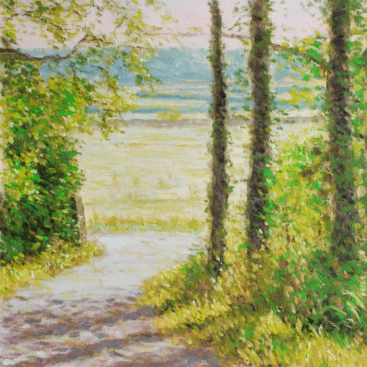 Hazy sunshine, Fishwick Bottoms - Gudpaint