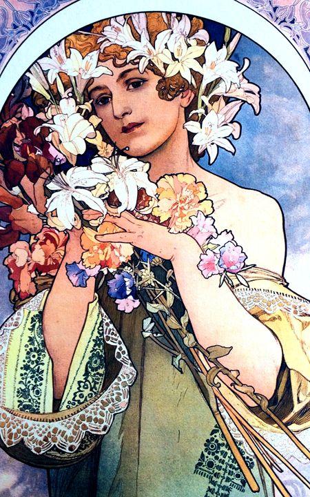 Flowers by Alphonse Mucha - Chameleon Canvas Art