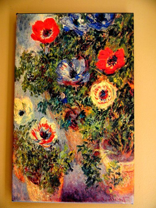 Stilll Life Anemones by Claude Monet - Chameleon Canvas Art