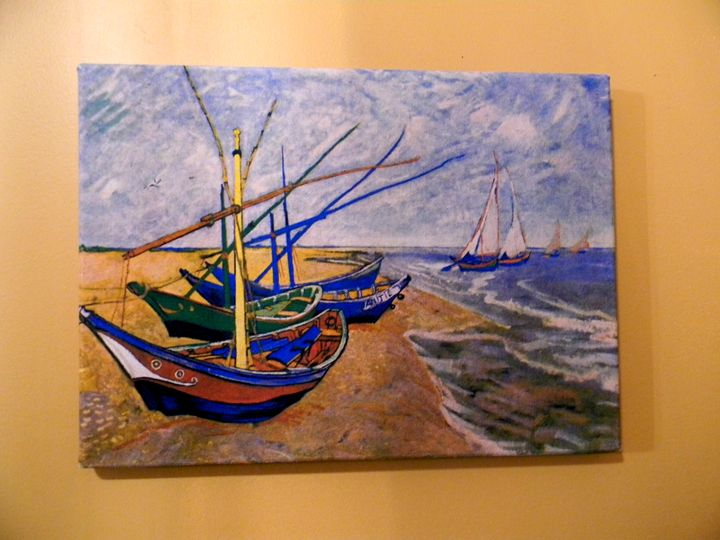 Fishing Boats on the Beach_Van Gogh - Chameleon Canvas Art
