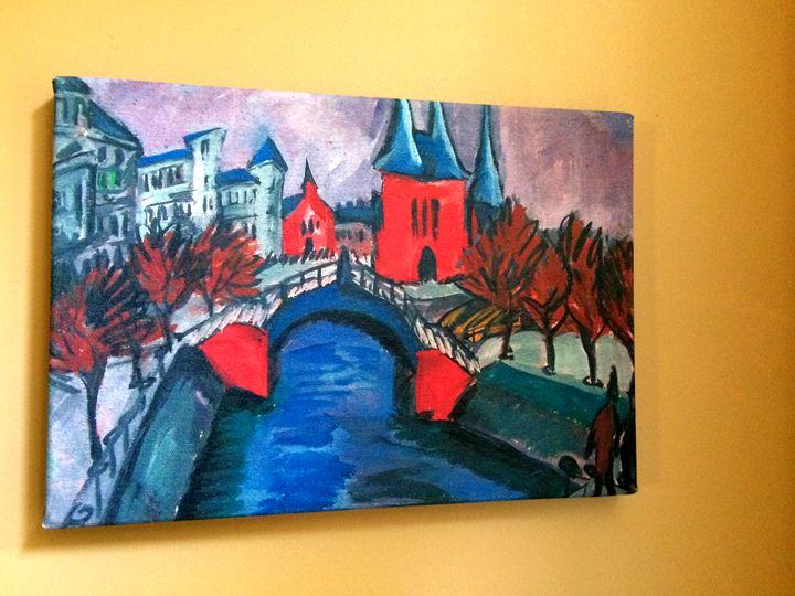 Red Elisabeth Riverbank by Kirchner - Chameleon Canvas Art