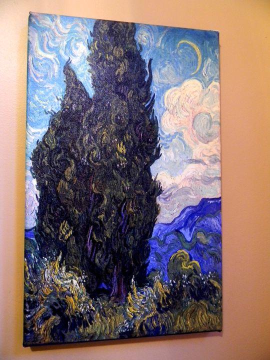Two Cypresses by Vincent van Gogh - Chameleon Canvas Art