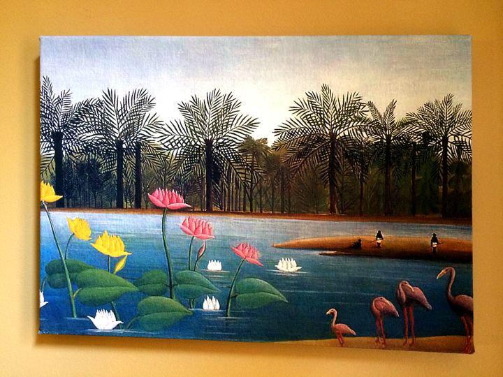 The Flamingoes by Henri Rousseau - Chameleon Canvas Art