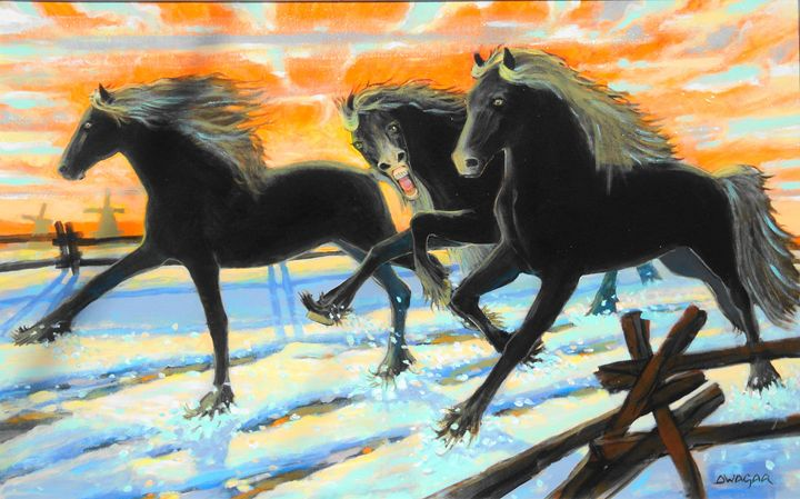Friesian War Horse Colts - artlegacy