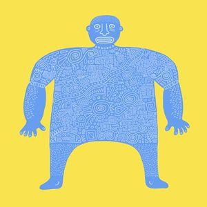 Blue tattoo guy