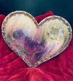 Heart shape wood base, acrylic stone